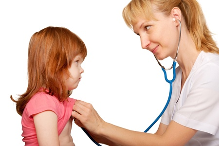 Doctor pediatrician listening to the child s heart  Isolated on white background photo