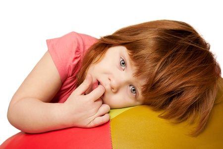 red haired: Portrait of little red-haired girl  Isolated on white background