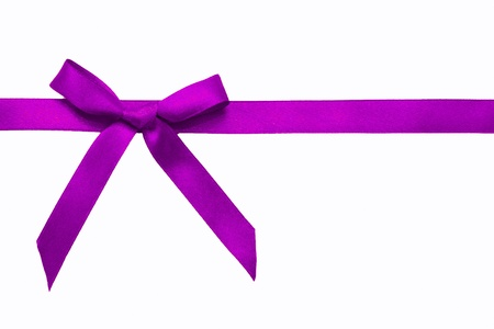 shimmery: Purple satin bow on a satin ribbon. Ready for your text. Festive background or texture. Christmas gift.