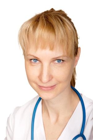 Smiling blue-eyed doctor close-up. Isolated on white background photo