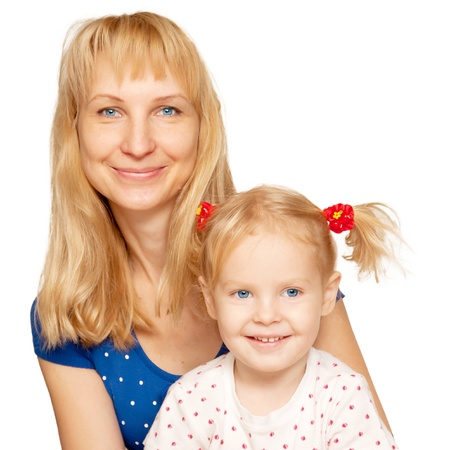 Happy blond mother and daughter faces close-up  Isolated on white background photo