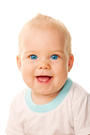 Smiling blue-eyed baby face close-up  Isolated on white background  Stock Photo - 16826273