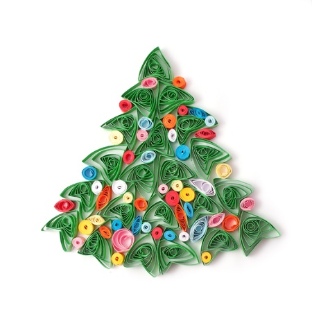 quilling: Paper Christmas tree, hand made  Used technique of paper quilling  Isolated on white background Stock Photo