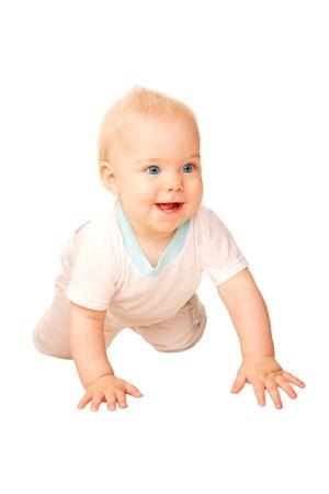 Laughing baby crawling away  Isolated on white background Stock Photo - 16879552