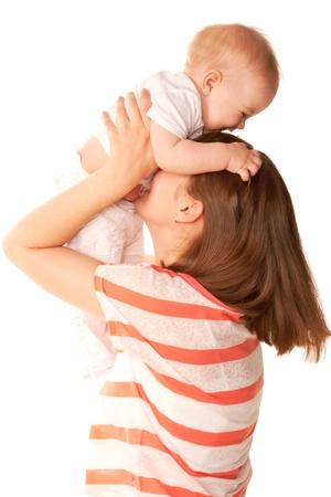 marital: Motherhood concept. Marital happiness. Isolated on white background.