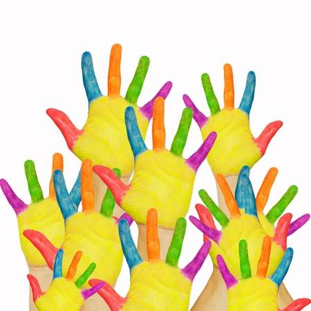 Veel geschilderde kinderen de handen opgewekt. Het concept van de klas, winkelen of een vriendelijke groep. Geà ¯ soleerd op witte achtergrond. Stockfoto