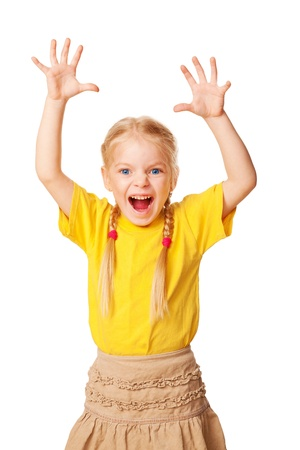 big mouth: Little girl shouting loudly with raised hands up   Isolated on white background