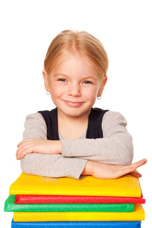 Little girl with books. School portrait. Isolated on white background Stock Photo - 18178584