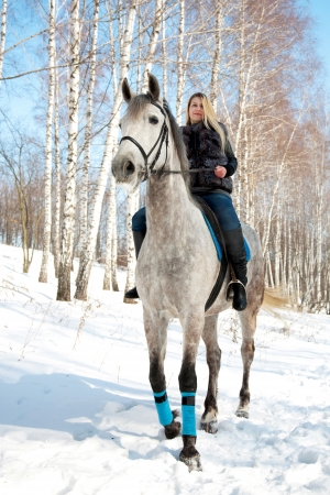 Girl riding on pale horse in sunny winter birch forest photo