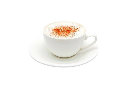capucinno: Cappuccino in a white bowl with grated chocolate. Isolated on white background. Stock Photo