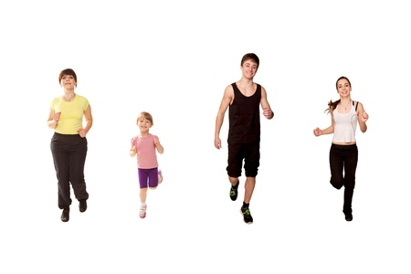 Family jogging. Mother and three children, a little girl, and two teenagers, a boy and a girl running, fitness workout. Isolated on white background  photo