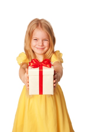 Little girl giving a gift photo