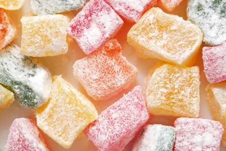 locum: Turkish colorful delight. Macro. Food background or texture