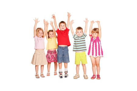 Group of children raising their hands up and smiling. Isolated on white background Stockfoto