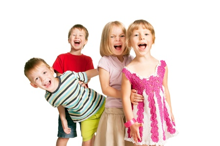 Group of children having fun, playing and emotional screaming. Isolated on white background