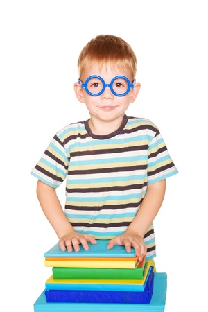 geeky: Happy student spectacled. Isolated on white background.