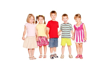 Funny group of little children holding hands and smiling. Friendship, school and union concept. Isolated on white background Stockfoto