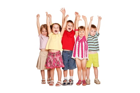preschool kids: Group of little children raising hands up and smiling, ready for your text or symbols. Isolated on white background