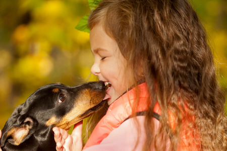 Little kid kissing dachshund puppy. Love to animals concept photo