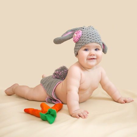 Baby is wearing in bunny photo