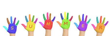 beautiful summer: Kids colorful hands forming word summer. Isolated on white background. Summer holidays concept Stock Photo