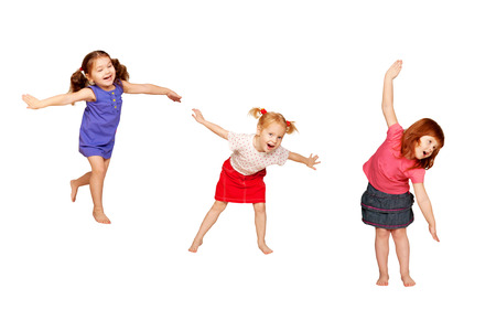 preschool: Happy dancing kids. Isolated on white background.