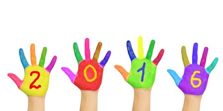 0 1 year: Kids colorful hands forming number 2016. Isolated on white background. The symbol of the new year Stock Photo