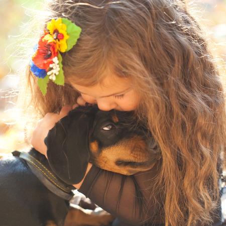 pet therapy: Little kid kissing and hugging dachshund puppy. Love to animals concept