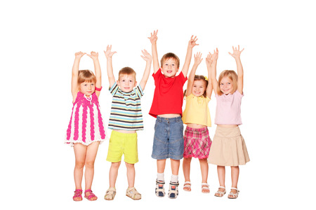 hands raised: Group of emotional children friends with their hands raised.  Isolated on white background