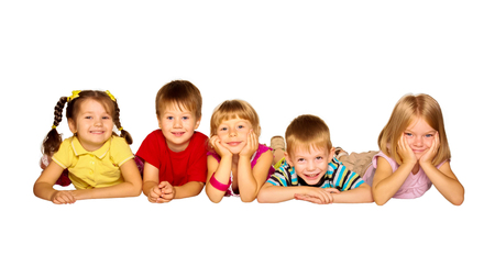 Group of happy children friends laughing. Isolated on white background photo