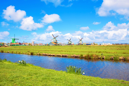 Canals and windmills. Netherlands, countryside, typical landscape.