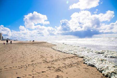 人けのないビーチ。北の海、オランダ、ノールトウェイク。