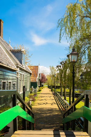 Netherlands, countryside. Typical authentic village, bridge and street..
