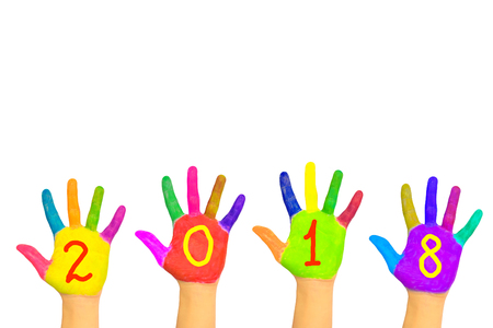 Kids colorful hands forming number 2018. Isolated on white background. The symbol of the new year. Party and holidays concept.