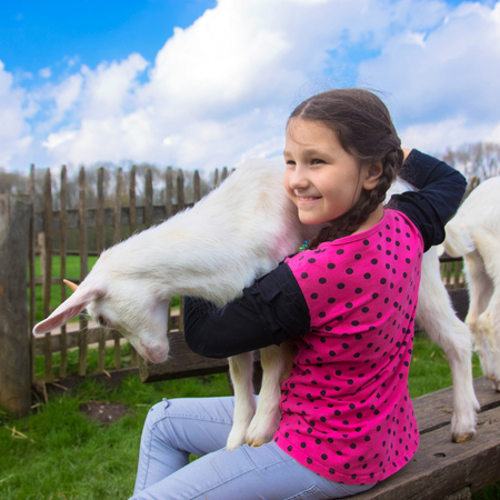 Little girl embracing a kid goat on a farm. Child holds and hugs the baby goat kid, goatling. Animal care and love concept. Children need to communicate with animals. Standard-Bild - 101032306
