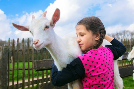 Little girl embracing a kid goat on a farm. Child holds and hugs the baby goat. Animal care and love concept. Children need to communicate with animals. Standard-Bild - 101032305