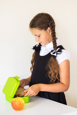 Little girl dressed in school uniform collects lunch for school in the kitchen. Child puts sandwich in the lunchbox. Next to the lunchbox is an apple. Kid himself prepares for school. Back to school. Standard-Bild - 102753890