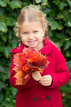 Little child in the autumn day. Beautiful little girl dressed in a red coat with a bouquet of red autumn leaves. Smiling and rejoicing funny autumn kid.