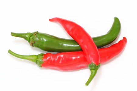 green and red chili peppers photo