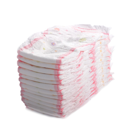 nappies: Stack of diapers isolated on white
