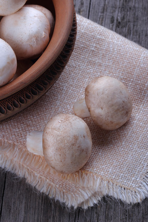 champignons: Champignons in a ceramic plate on old wood table Stock Photo