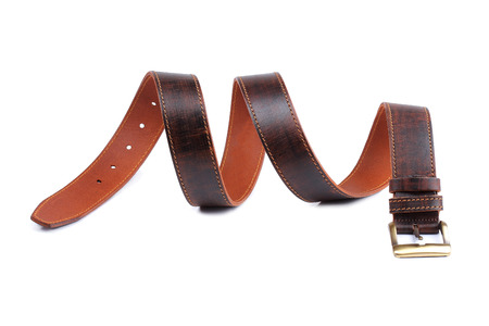chrome man: Brown leather belt isolated on white background
