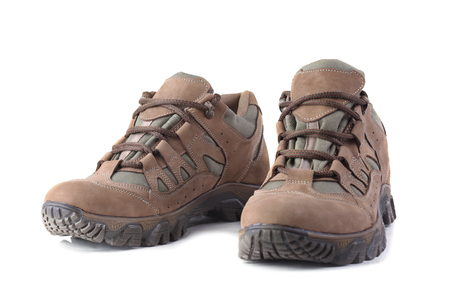 Hiking boots isolated on white background