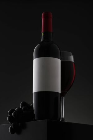 Bottle of red wine with label and wineglass on gradient background. Closeup 写真素材