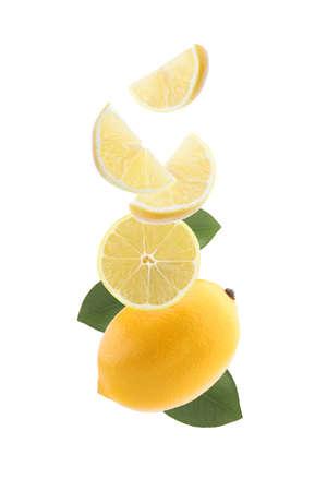Flying lemon isolated on white background