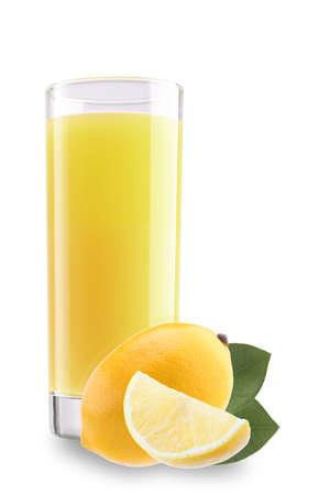 Glass of lemonade with lemon isolated on white background