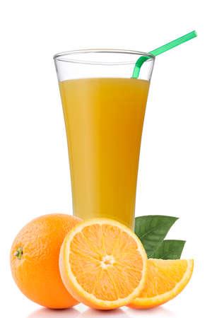 Glass of orange juice and slices of orange fruit isolated on white background