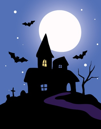 Haunted house on a blue background