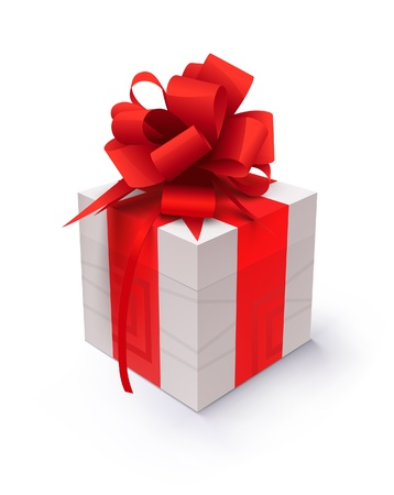 Gift with red ribbon on a white background