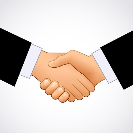 Handshake of businessmen on a white background